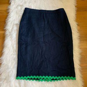 j crew Navy Blue Linen Pencil Skirt/2